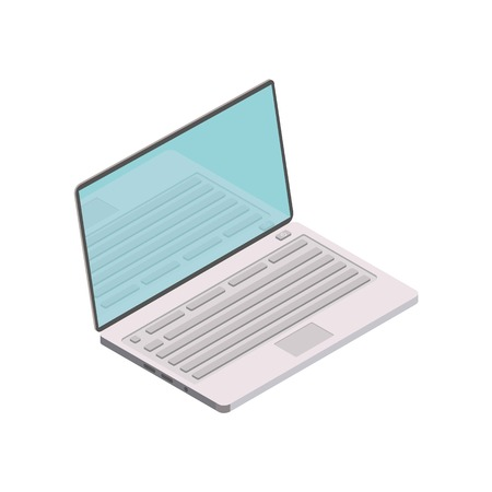 Vector illustration. Isometric laptop with reflection on the screen. Concept business strategy. Analysis data and Investment. Business success. Financial review with laptop. 3d isometric Illustration