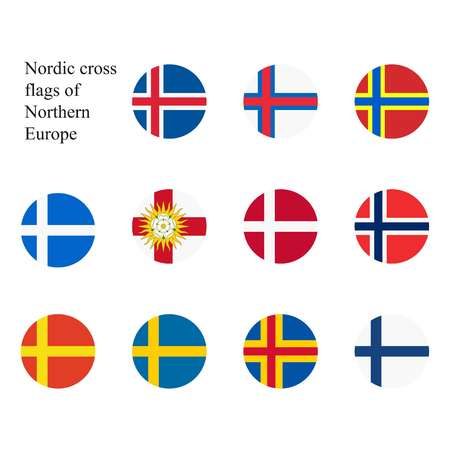 Raster illustration. Set of nordic cross flags of Northern Europe countries and lands. Iceland, Faroe Islands, Orkney, Shetland, Yorkshire, Denmark, Norway, Skane, Sweden, Aland, Islands, Finland Stock Photo