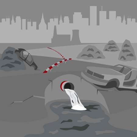 Water waste pipe pollution. Landscape of waste dump car chassis and nuclear power plant. Water pollution. Grey sky and black city on background. Ecology in danger. Vector illustration.