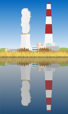 Nuclear power plant reflecting in the water and emitting CO2 for atomic energy. Bulrush lake or river and blue sky at background. Ecology in danger. Vector illustration.