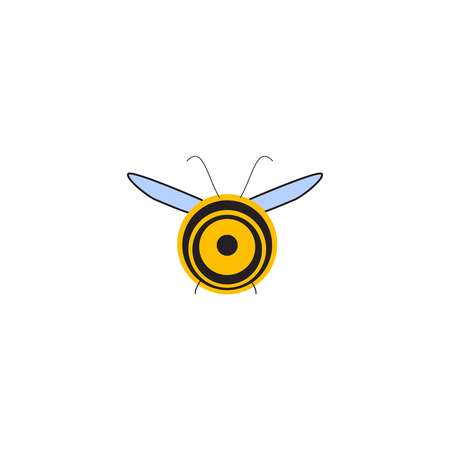 Busy Bee. Abstract flying Honey bee back view. Vector illustration
