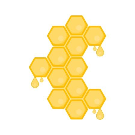 Honeycomb with flowing honey. Hexagon natural honey struct. Raster illustration
