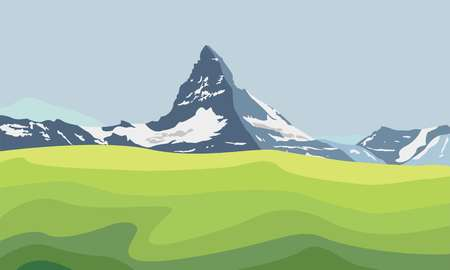 Mountain Matterhorn landscape. Glaciers on mountain, green valley, blue sky. Swiss Alps and Matterhorn mountain. Switzerland landscape. Raster illustration. Stock Photo