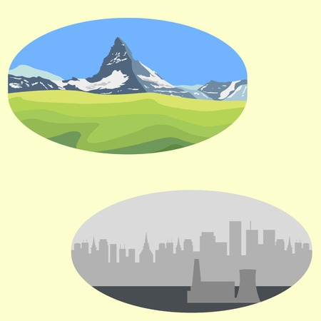 Mountain landscape vs city landscape. Urban versus nature. Save the ecology. Raster illustration