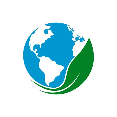 Earth globe with green leaf. Eco concept, icon. Illustration