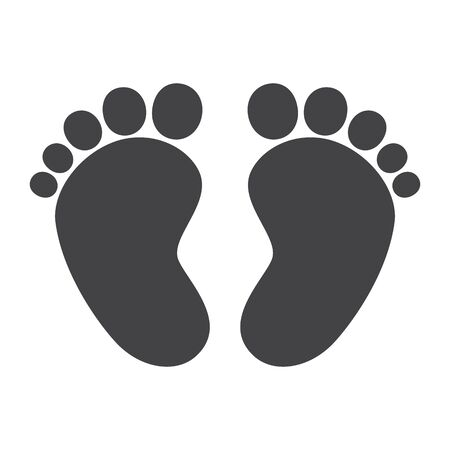 Foot print, barefoot, human. Abstract concept, icon. Ilustrace