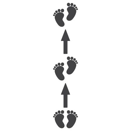 Footprints, barefoot, human. Arrows, movement pointers. Abstract concept, icon set.