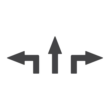Arrows, movement pointers. Straight, left, right. Abstract concept, icon.