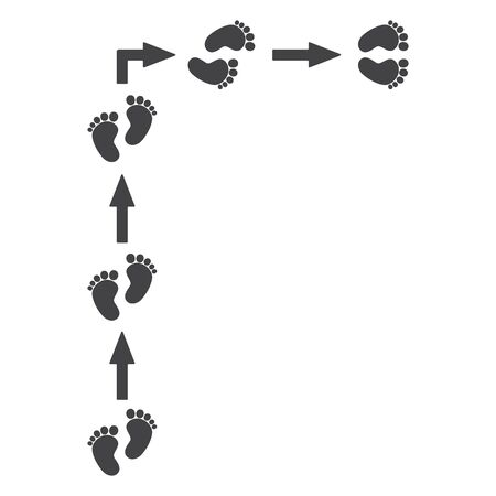 Footprints, barefoot, human. Arrows, movement pointers. Straight and right. Abstract concept, icon set.