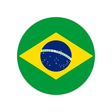 Federative Republic of Brazil. National flag, correct proportions. Abstract concept, round icon.