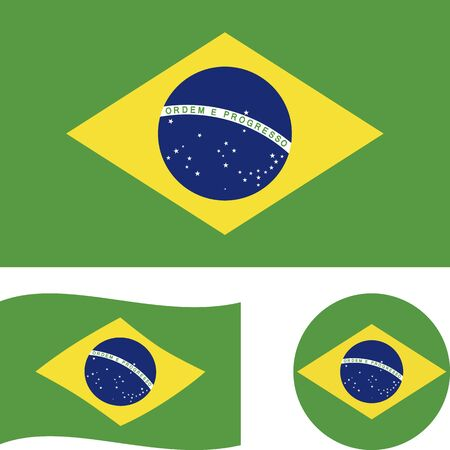 Federative Republic of Brazil. National flag. Correct proportions, wave, round. Abstract concept, icon set. Ilustrace