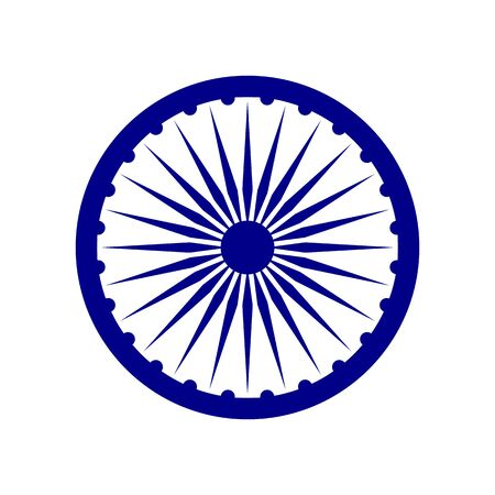 Element of the flag of India. Ashoka Chakra. Abstract concept, icon.