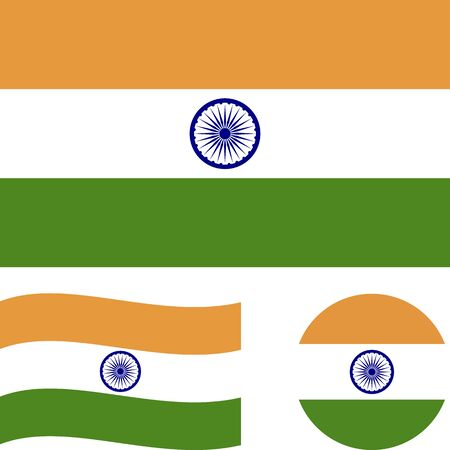 Republic of India. National flag. Correct proportions, wave, round. Abstract concept, icon set.  イラスト・ベクター素材