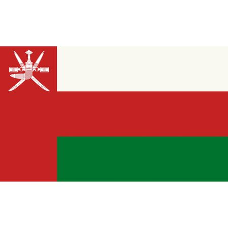 Sultanate of Oman. National flag, correct proportions. Abstract concept, icon.