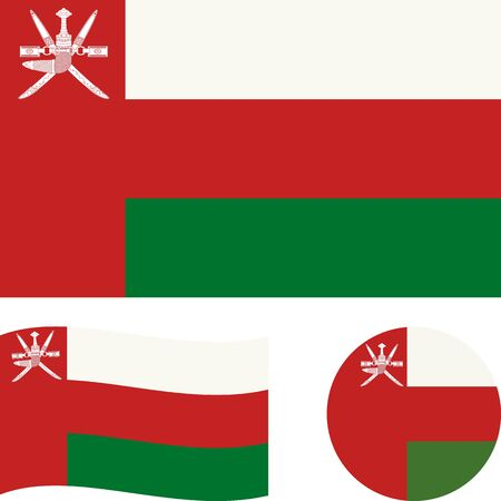Sultanate of Oman. National flag. Correct proportions, wave, round. Abstract concept, icon set.