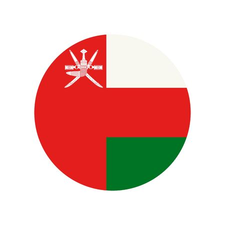 Sultanate of Oman. National flag, round. Abstract concept, icon.