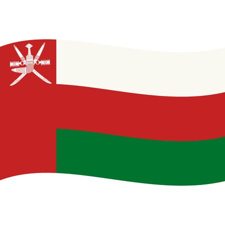 Sultanate of Oman. National flag, wave. Abstract concept, icon. Ilustrace