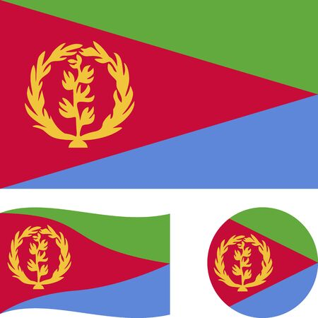 State of Eritrea. National flag. Correct proportions, wave, round. Abstract concept, icon set.