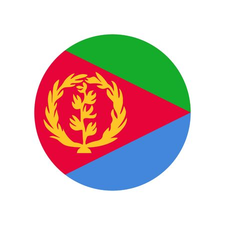 State of Eritrea. National flag, round. Abstract concept, icon.
