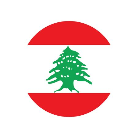 Lebanese Republic. National flag, round. Abstract concept, icon. Ilustrace