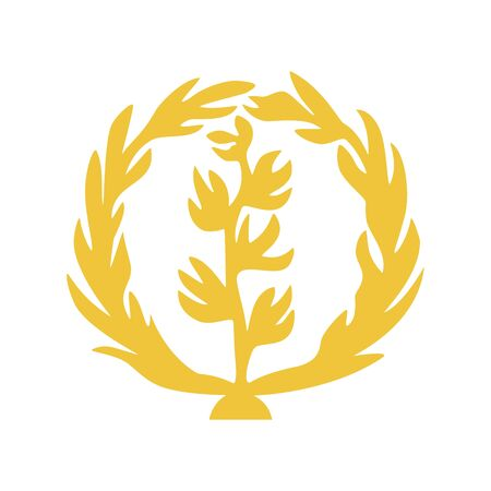 Element of the flag of Eritrea. Olive branch in olive wreath. Abstract concept, icon.