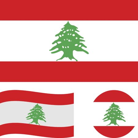 Lebanese Republic. National flag. Correct proportions, wave, round. Abstract concept, icon set.