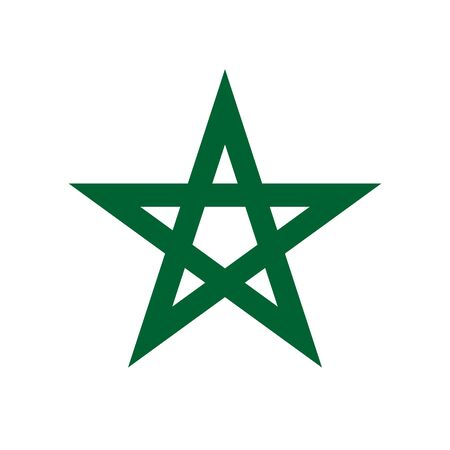 Element of the flag of Kingdom of Morocco. Pentagram the seal of Solomon. Abstract concept, icon.
