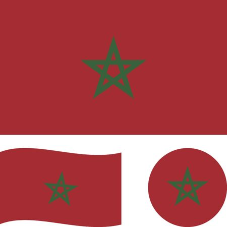 Kingdom of Morocco. National flag. Correct proportions, wave, round. Abstract concept, icon set.