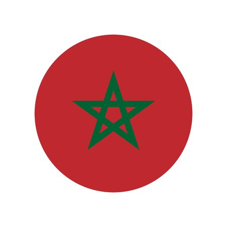Kingdom of Morocco. National flag, round. Abstract concept, icon. Ilustrace
