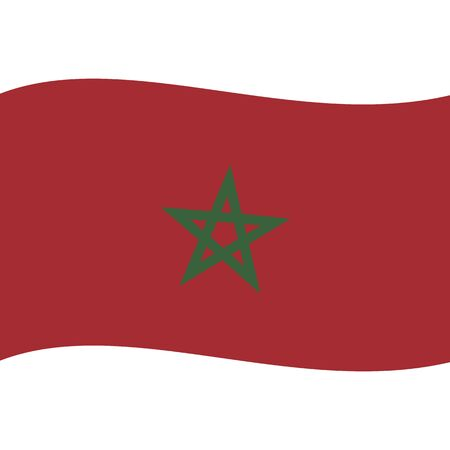 Kingdom of Morocco. National flag, wave. Abstract concept, icon. Ilustrace