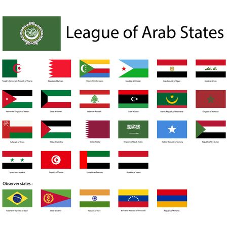 League of Arab States. National flags, correct proportions. Abstract concept, icon set. Ilustrace