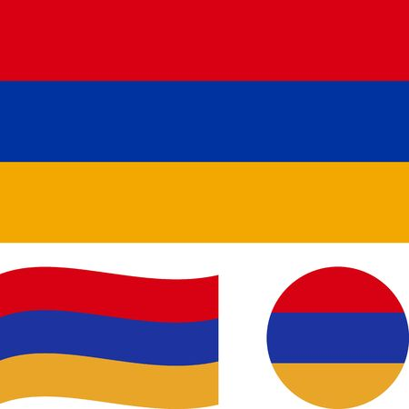 Republic of Armenia. National flag. Correct proportions, wave, round. Abstract concept, icon set.