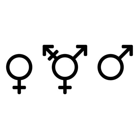 Gender symbols, icon set. Male, female and transgender. Black signs on a white background. Иллюстрация