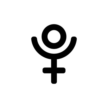 Astrological symbol of Pluto, icon. Black sign isolated.  イラスト・ベクター素材