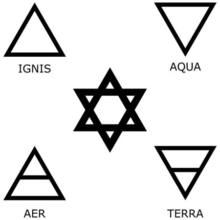 Six-pointed star and symbols of the four elements of nature. Signs of fire, water, air, earth.