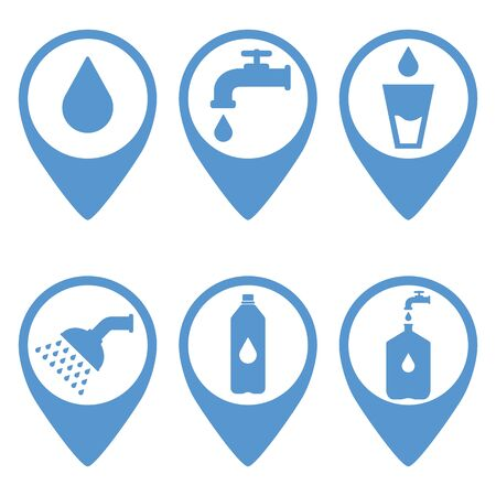 Map pointer. Location marker of water point. Blue. Abstract concept, icon set. Ilustracja
