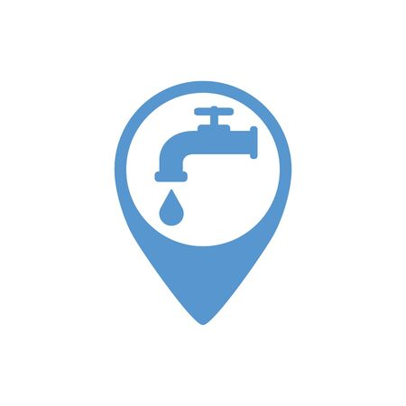 Map pointer. Location marker of water point. Blue. Abstract concept, icon.