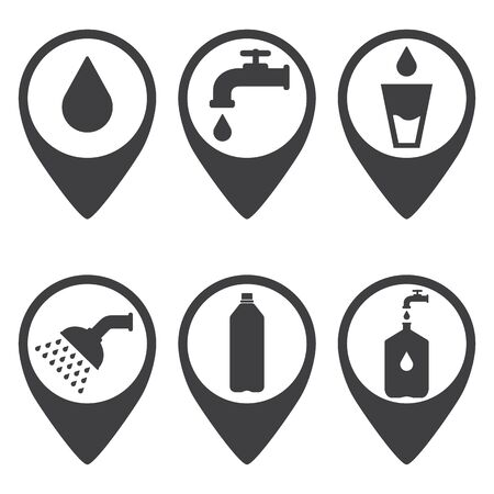 Map pointer. Location marker of water point. Black. Abstract concept, icon set.