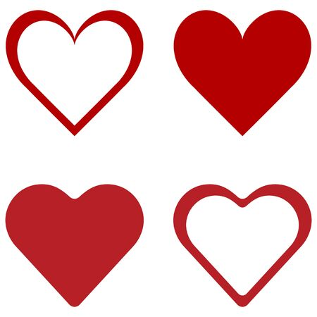 Red heart, icon set. Abstract concept. Vector illustration on white background.