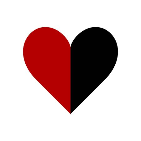 Heart, red and black. Abstract concept, icon. Vector illustration on white background. Ilustracja