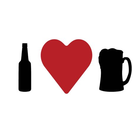 I love beer. Bottle, heart and beer mug. Abstract concept, icon. Vector illustration on white background.