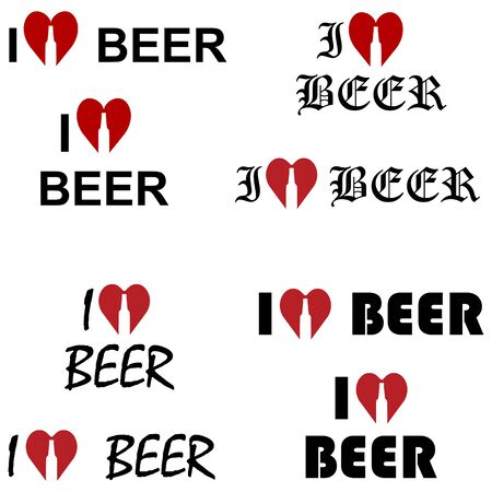 I love beer. Text, lettering with heart. Abstract concept, icon set. Vector illustration on white background. Иллюстрация
