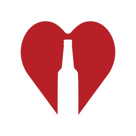 Love beer. Beer bottle in red heart. Abstract concept, icon. Vector illustration on white background.