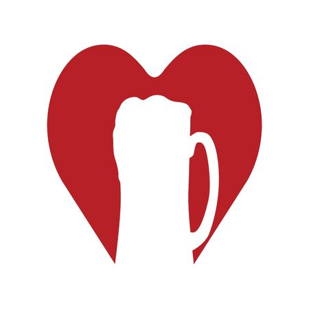 Love beer. Beer mug in red heart. Abstract concept, icon. Vector illustration on white background. Иллюстрация