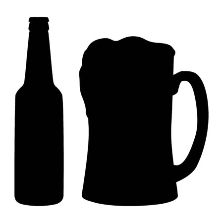 Beer. Bottle and full mug with foam. Abstract concept, icon. Vector illustration on white background. Иллюстрация