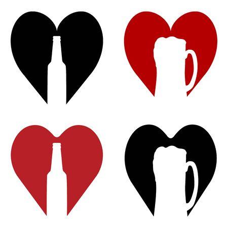 Love beer. Beer mug, bottle inside red or black heart. Abstract concept, icon set. Vector illustration on white background. Иллюстрация
