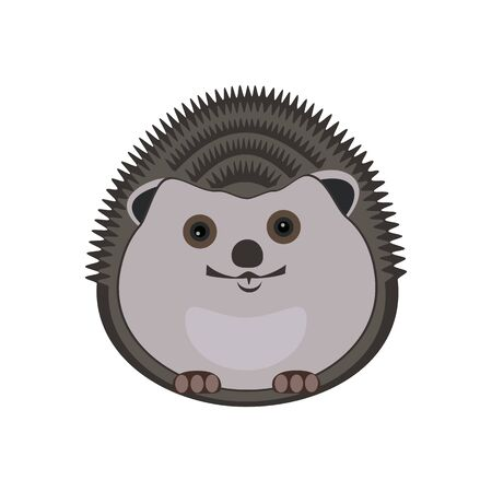A little hedgehog is smiling. Abstract concept, icon. Vector illustration on white background. Ilustracja