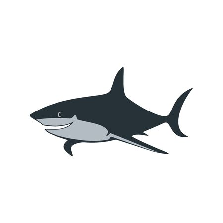 The shark is smiling. Abstract concept, icon. Vector illustration on white background.