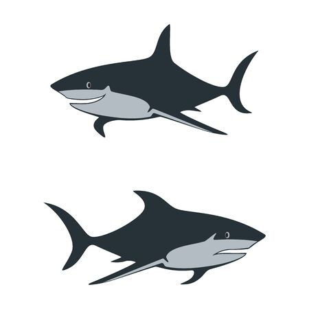 The shark is smiling and the shark is upset. Abstract concept, icon set. Vector illustration on a white background. Ilustracja