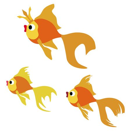 Cute goldfishe. Abstract concept, icon set. Vector illustration on white background. Ilustracja